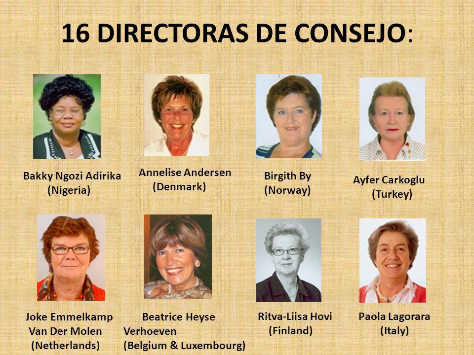 16 DIRECTORAS DE CONSEJO: