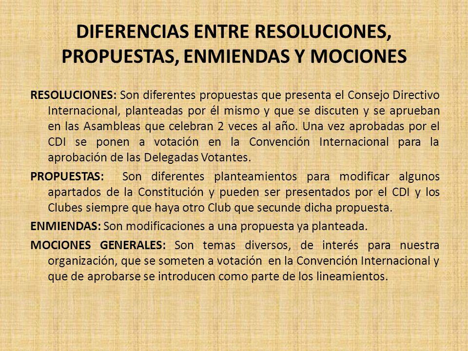 DIFERENCIAS ENTRE RESOLUCIONES, PROPUESTAS, ENMIENDAS Y MOCIONES