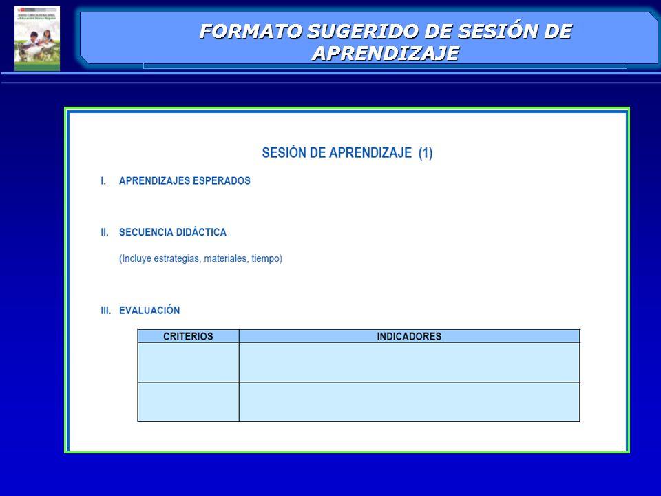 FORMATO SUGERIDO DE SESIÓN DE APRENDIZAJE