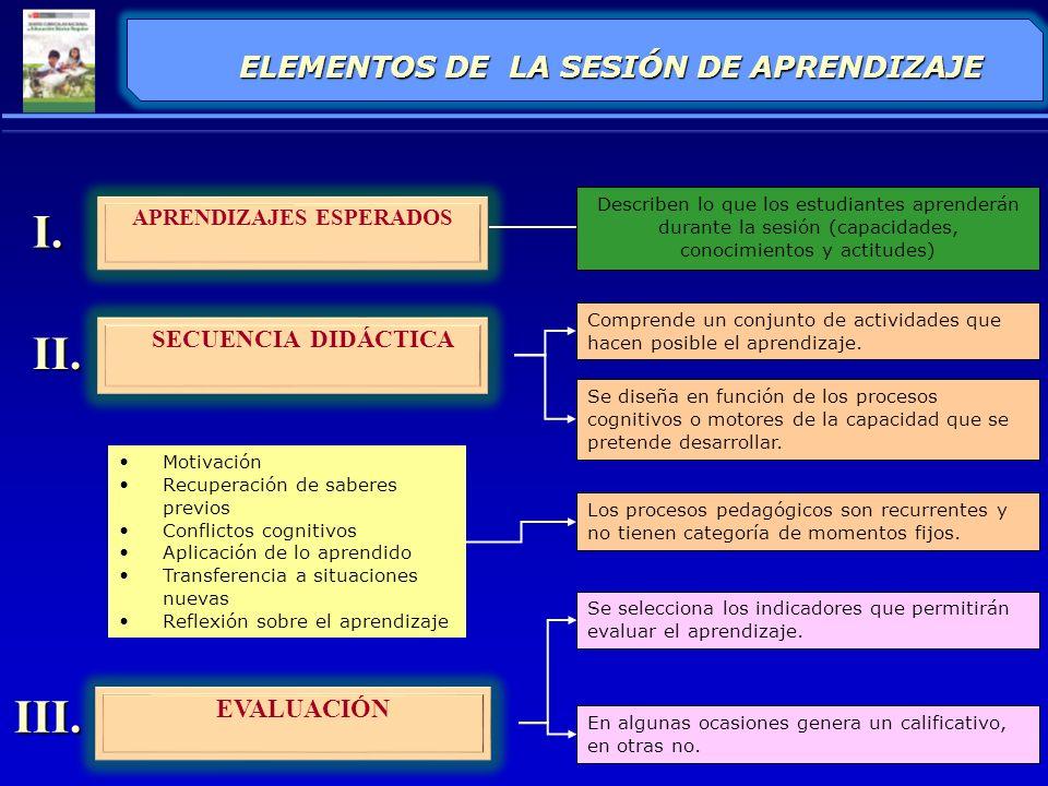 ELEMENTOS DE LA SESIÓN DE APRENDIZAJE APRENDIZAJES ESPERADOS