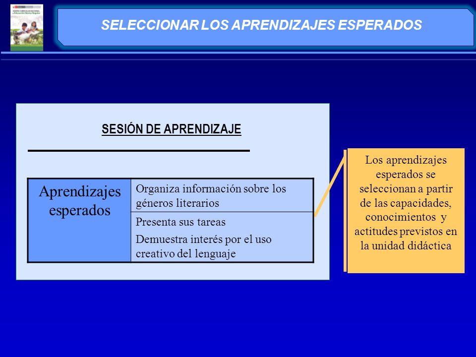 SELECCIONAR LOS APRENDIZAJES ESPERADOS