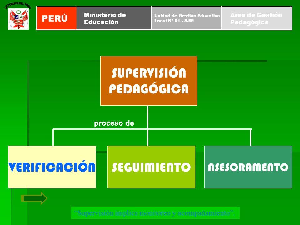 SUPERVISIÓN PEDAGÓGICA VERIFICACIÓN SEGUIMIENTO ASESORAMENTO PERÚ