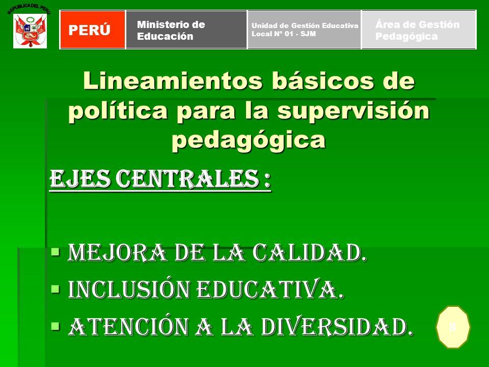 Lineamientos básicos de política para la supervisión pedagógica