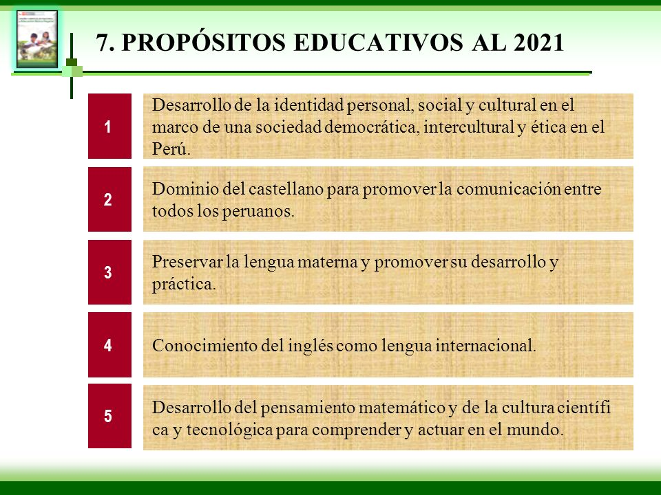 7. PROPÓSITOS EDUCATIVOS AL 2021