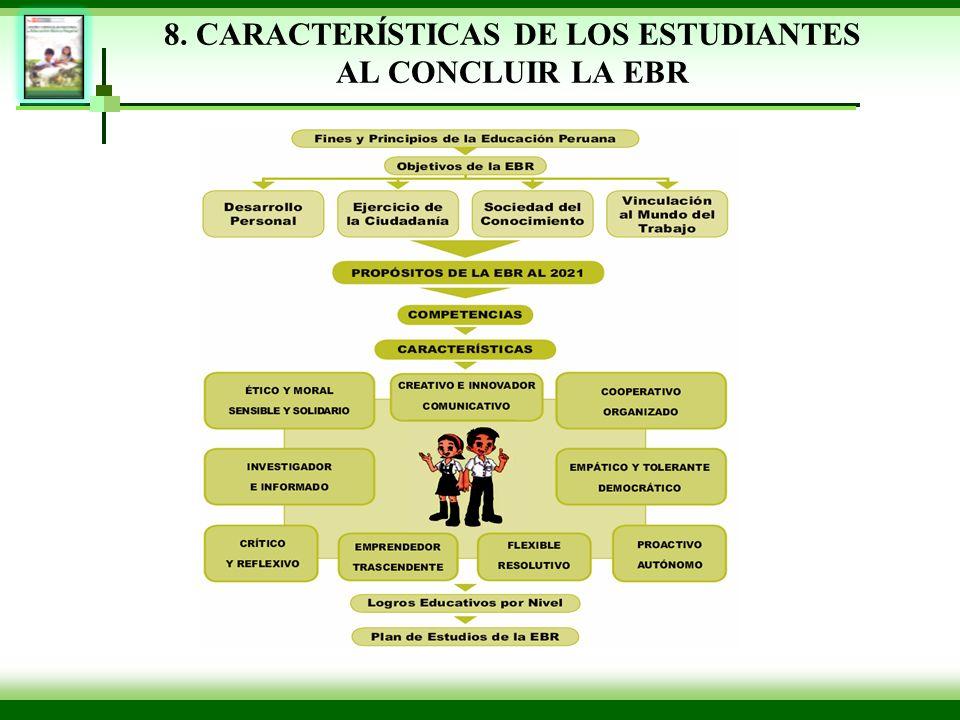8. CARACTERÍSTICAS DE LOS ESTUDIANTES AL CONCLUIR LA EBR