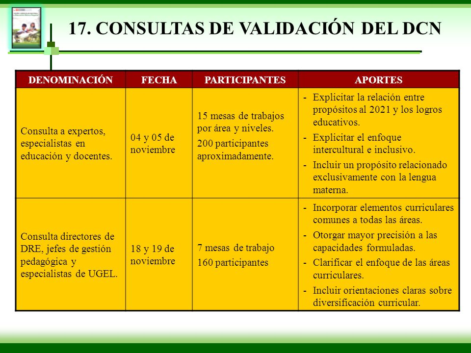 17. CONSULTAS DE VALIDACIÓN DEL DCN