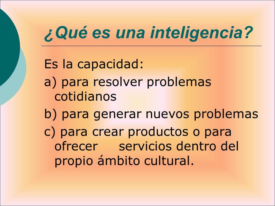 ¿Qué es una inteligencia