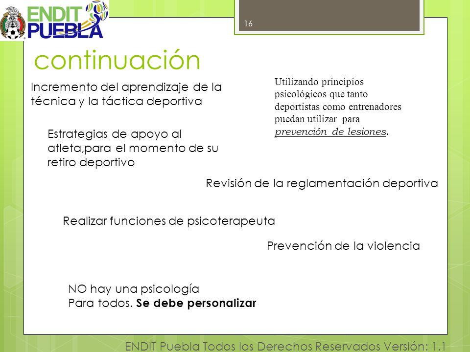 continuación 16. Utilizando principios psicológicos que tanto deportistas como entrenadores puedan utilizar para prevención de lesiones.