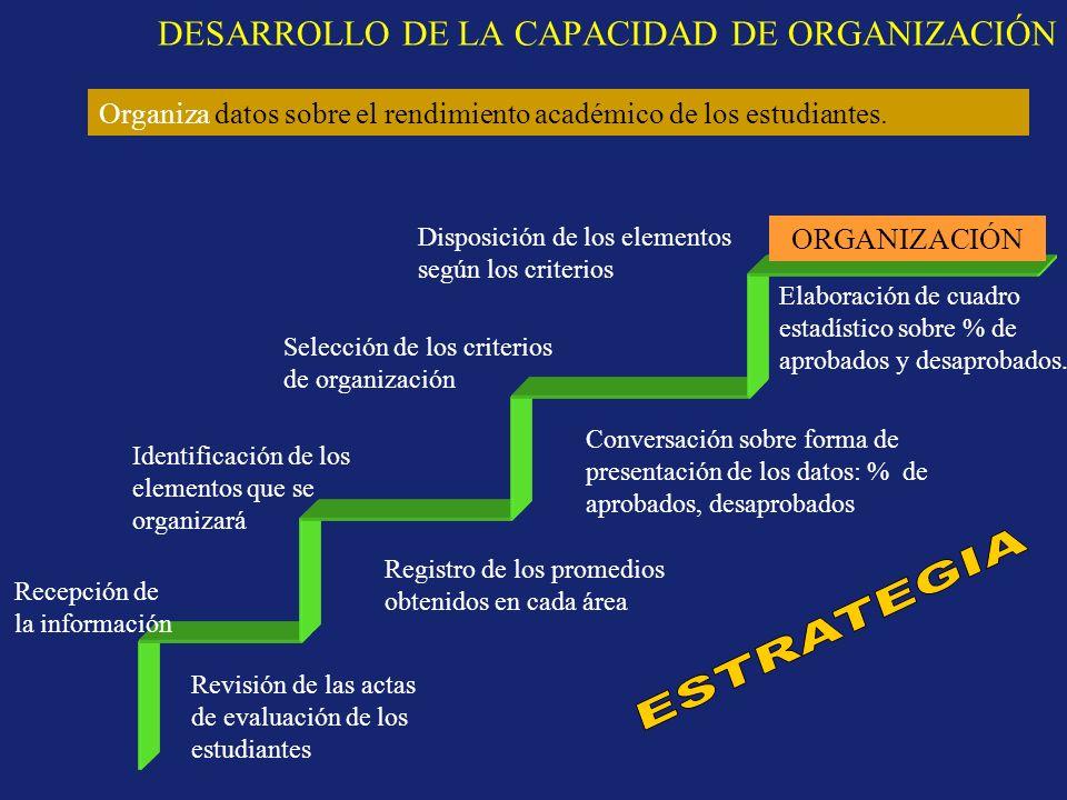 DESARROLLO DE LA CAPACIDAD DE ORGANIZACIÓN
