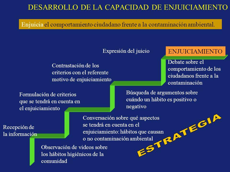 DESARROLLO DE LA CAPACIDAD DE ENJUICIAMIENTO