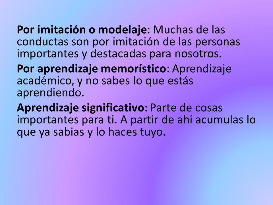 Por imitación o modelaje: Muchas de las conductas son por imitación de las personas importantes y destacadas para nosotros.