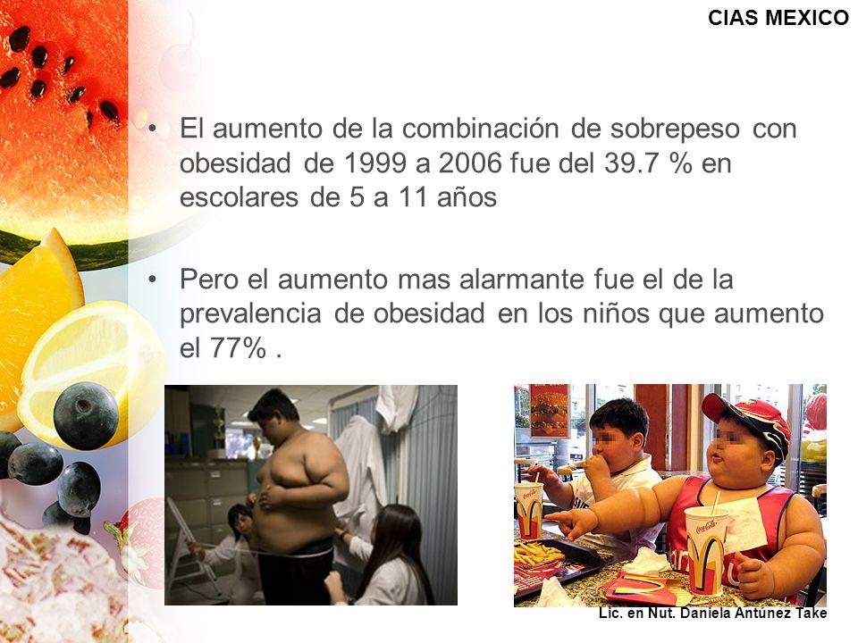 CIAS MEXICO El aumento de la combinación de sobrepeso con obesidad de 1999 a 2006 fue del 39.7 % en escolares de 5 a 11 años.
