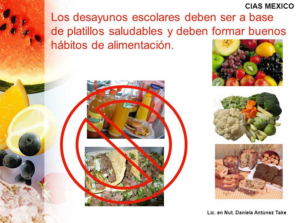 CIAS MEXICO Los desayunos escolares deben ser a base de platillos saludables y deben formar buenos hábitos de alimentación.