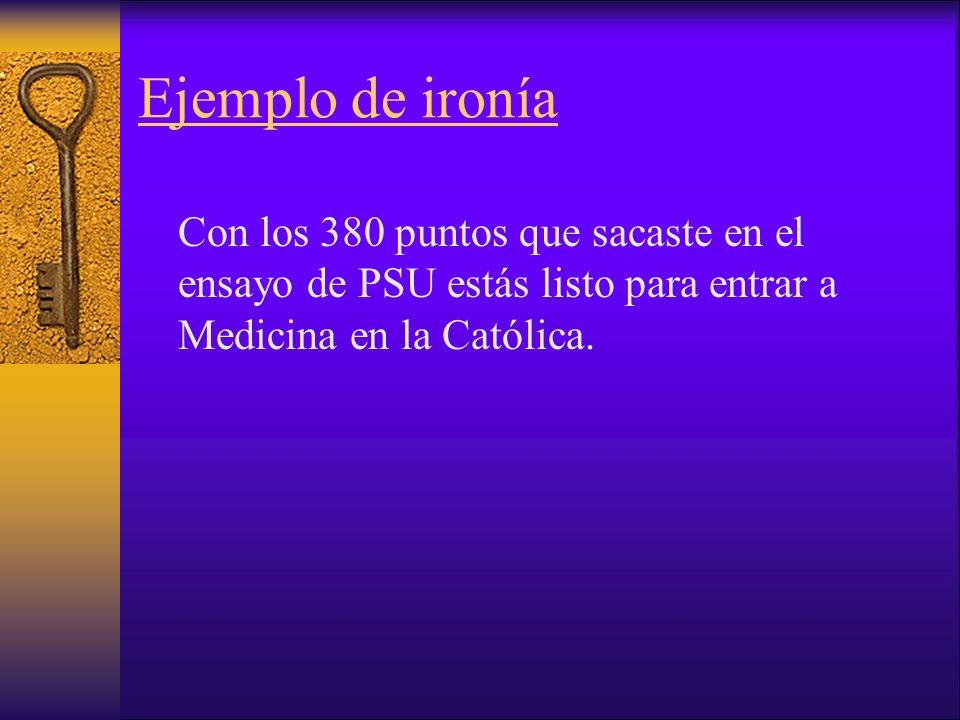 Ejemplo de ironía Con los 380 puntos que sacaste en el ensayo de PSU estás listo para entrar a Medicina en la Católica.