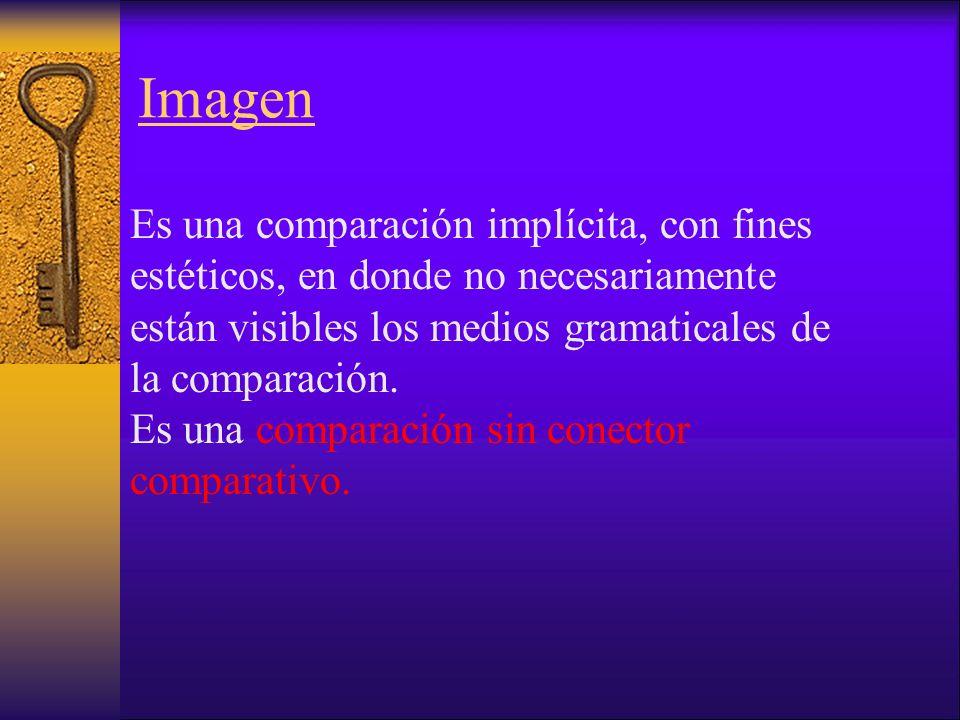 Imagen Es una comparación implícita, con fines estéticos, en donde no necesariamente están visibles los medios gramaticales de la comparación.
