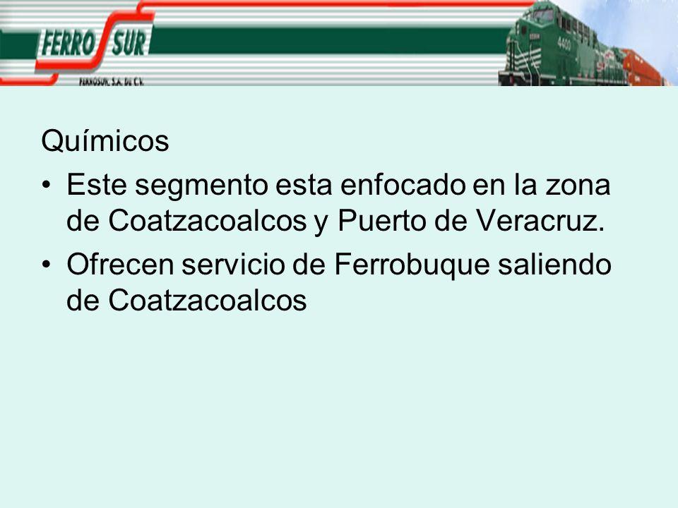 Químicos Este segmento esta enfocado en la zona de Coatzacoalcos y Puerto de Veracruz.