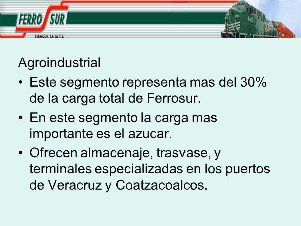 Agroindustrial Este segmento representa mas del 30% de la carga total de Ferrosur. En este segmento la carga mas importante es el azucar.