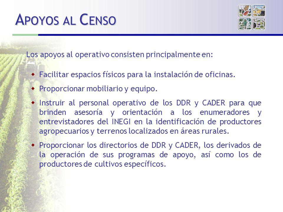 APOYOS AL CENSO Los apoyos al operativo consisten principalmente en: