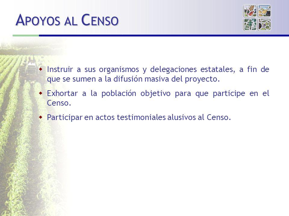 APOYOS AL CENSO Instruir a sus organismos y delegaciones estatales, a fin de que se sumen a la difusión masiva del proyecto.