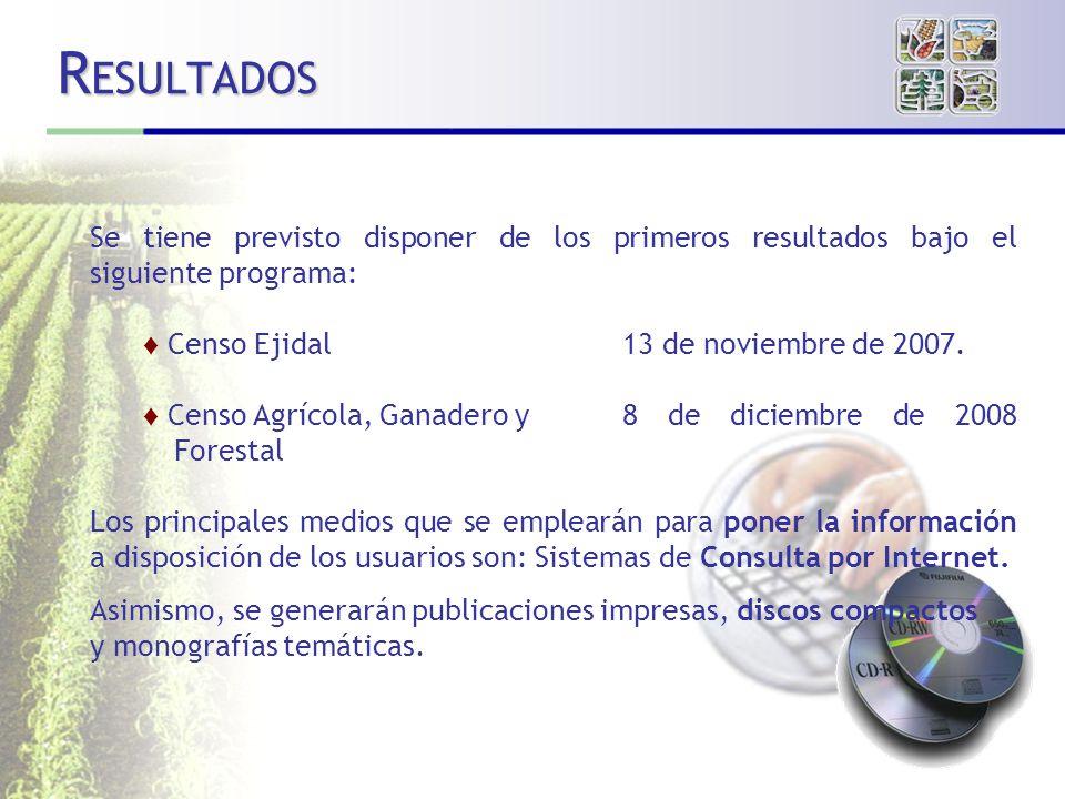 RESULTADOS Se tiene previsto disponer de los primeros resultados bajo el siguiente programa: Censo Ejidal 13 de noviembre de 2007.