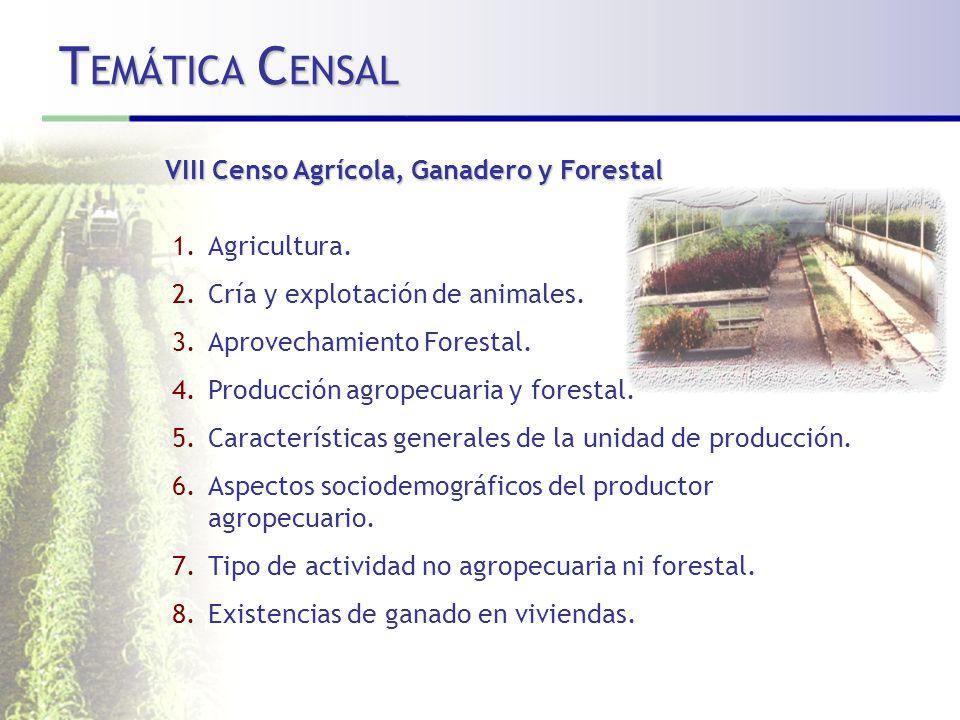 TEMÁTICA CENSAL VIII Censo Agrícola, Ganadero y Forestal Agricultura.
