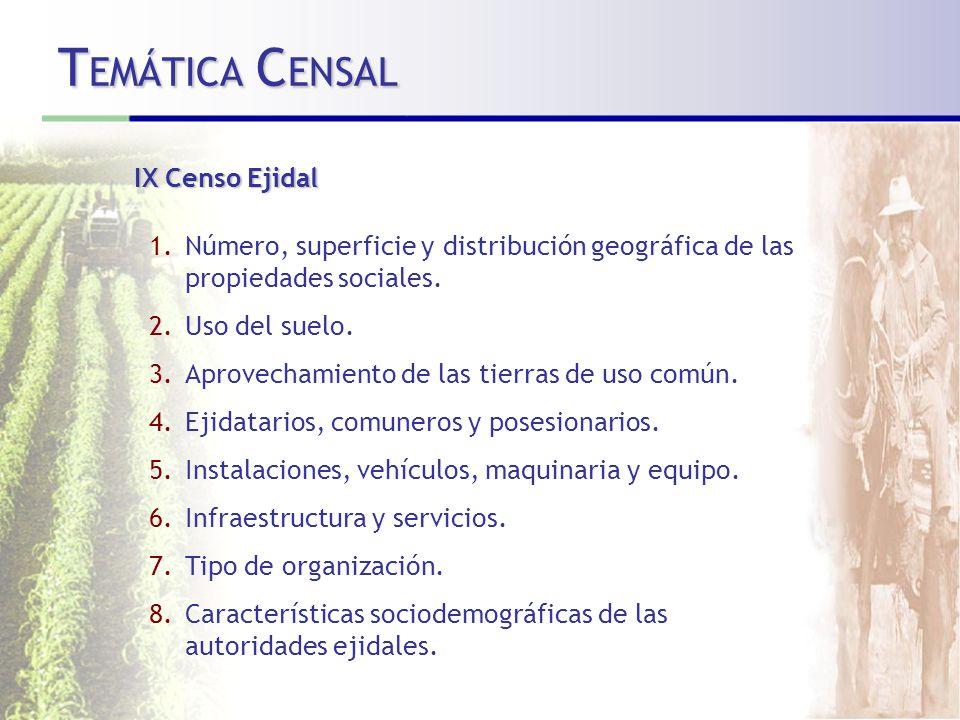 TEMÁTICA CENSAL IX Censo Ejidal