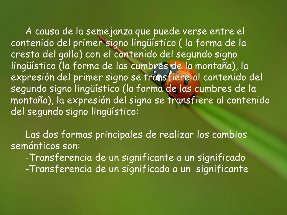 A causa de la semejanza que puede verse entre el contenido del primer signo lingüístico ( la forma de la cresta del gallo) con el contenido del segundo signo lingüístico (la forma de las cumbres de la montaña), la expresión del primer signo se transfiere al contenido del segundo signo lingüístico (la forma de las cumbres de la montaña), la expresión del signo se transfiere al contenido del segundo signo lingüístico: