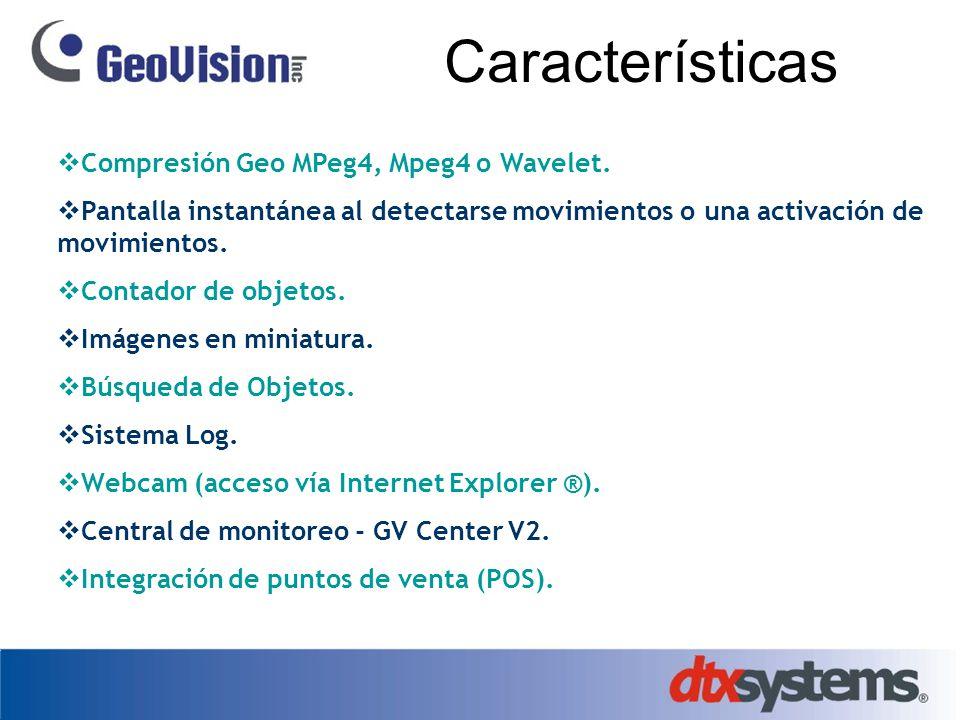 Características Compresión Geo MPeg4, Mpeg4 o Wavelet.