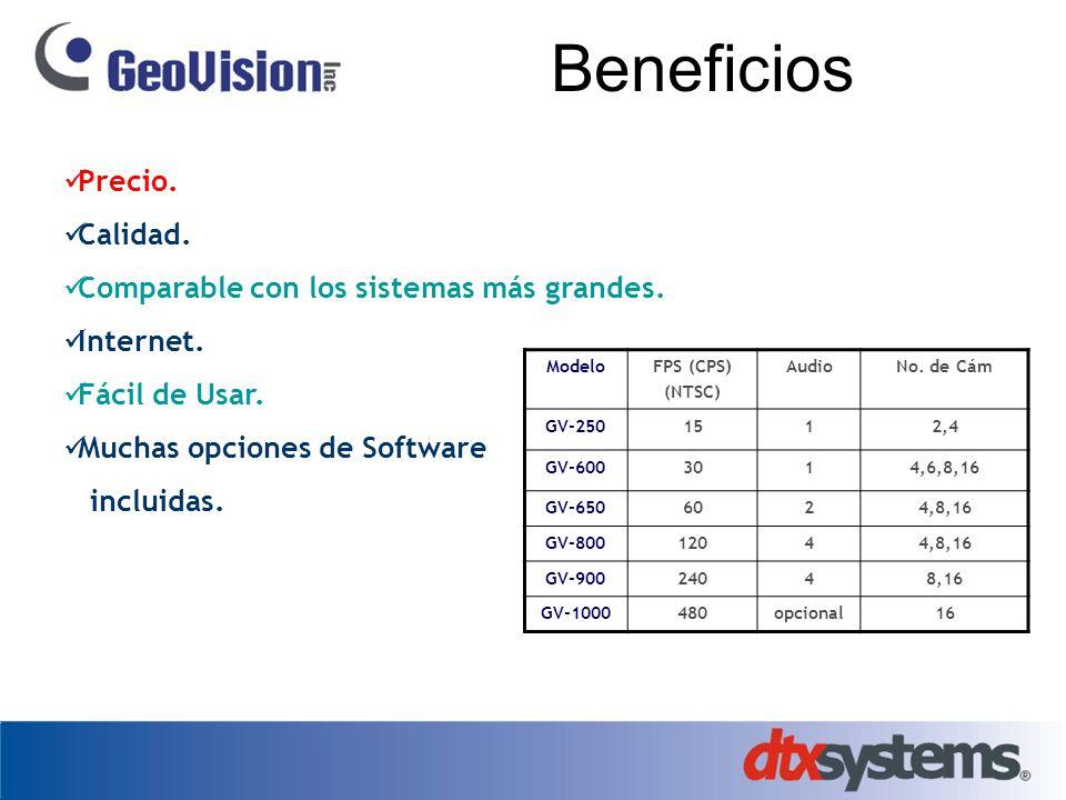 Beneficios Precio. Calidad. Comparable con los sistemas más grandes.