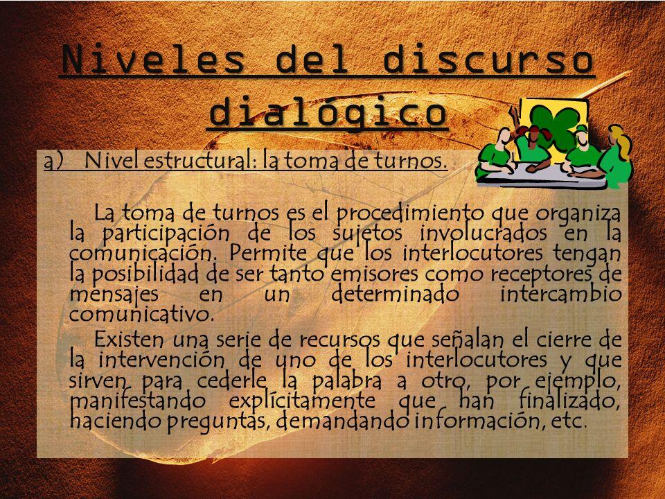 Niveles del discurso dialógico