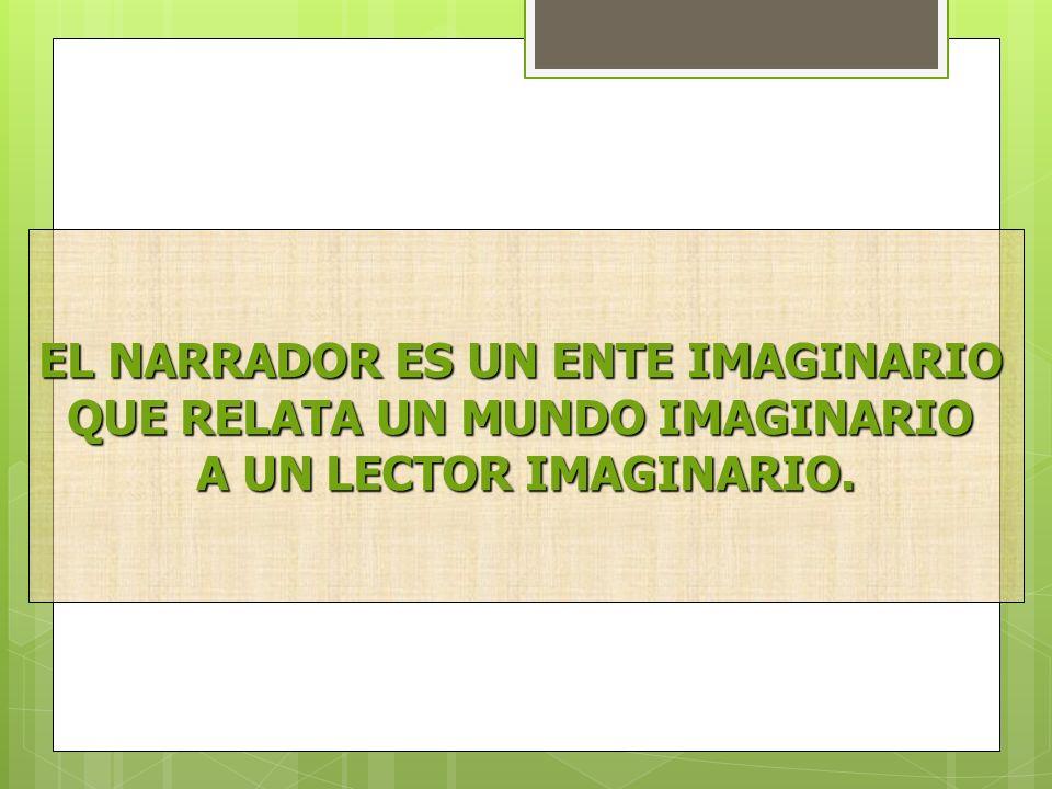 EL NARRADOR ES UN ENTE IMAGINARIO QUE RELATA UN MUNDO IMAGINARIO