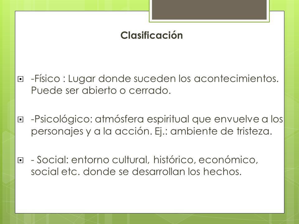 Clasificación -Físico : Lugar donde suceden los acontecimientos. Puede ser abierto o cerrado.