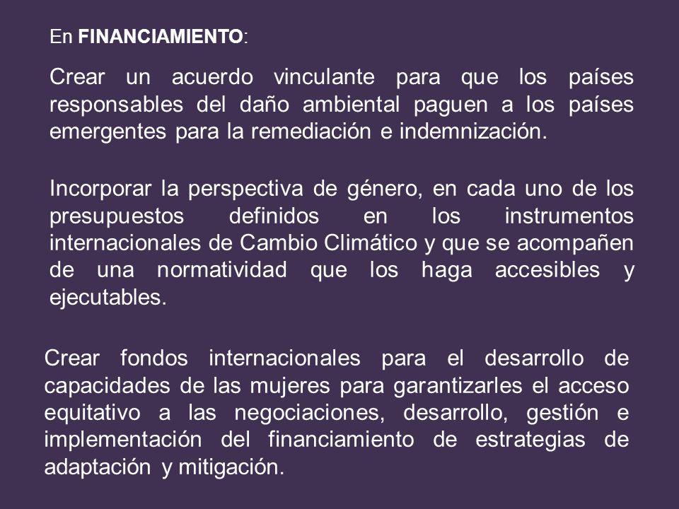 En FINANCIAMIENTO: