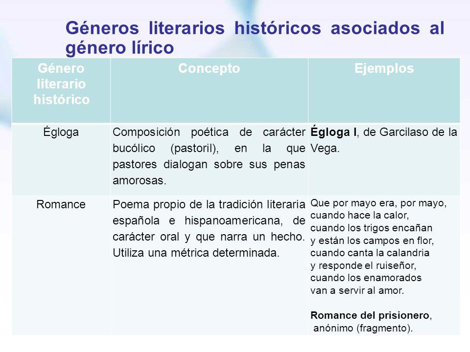 Géneros literarios históricos asociados al género lírico