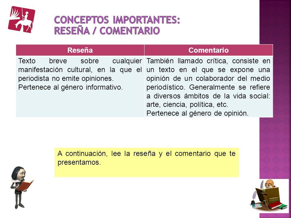 Conceptos importantes: Reseña / comentario