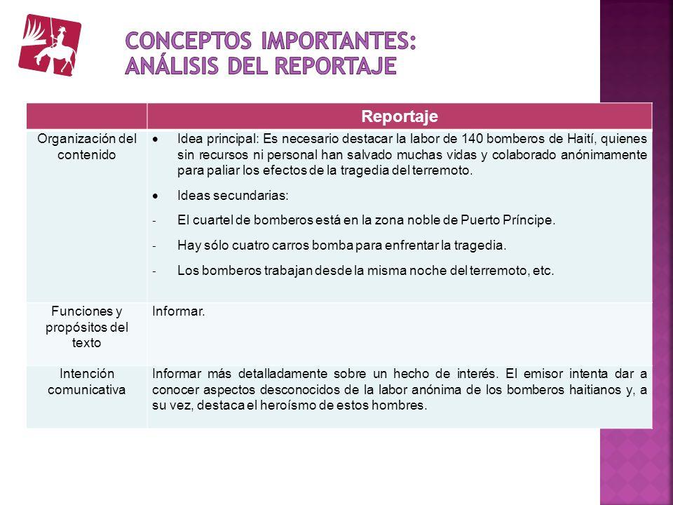 Conceptos importantes: Análisis del reportaje