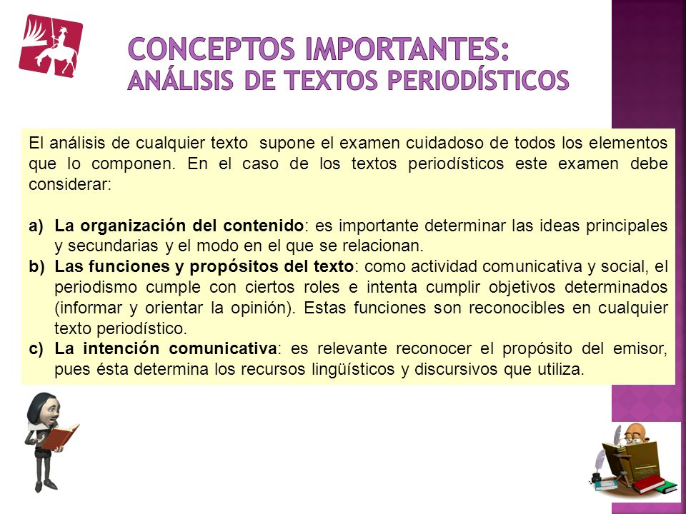 Conceptos importantes: Análisis de textos periodísticos