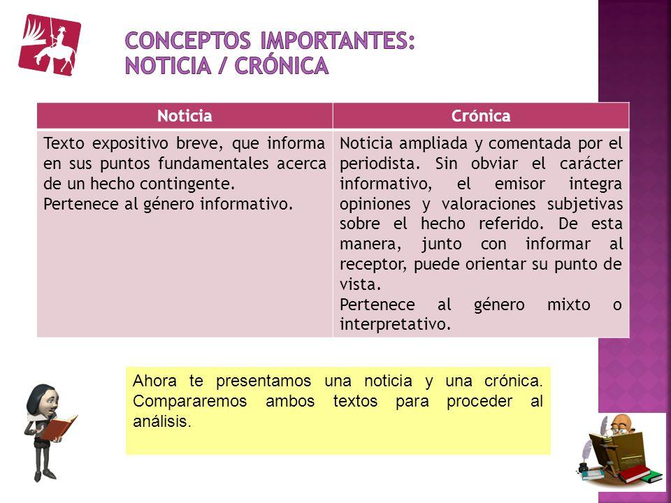 Conceptos importantes: Noticia / crónica