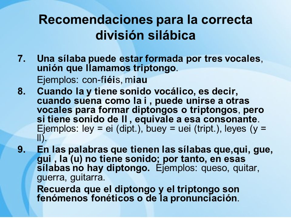 Recomendaciones para la correcta división silábica