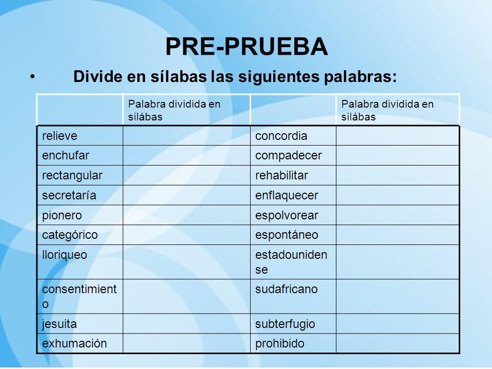 PRE-PRUEBA Divide en sílabas las siguientes palabras: relieve