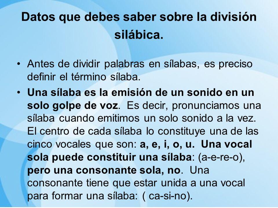 Datos que debes saber sobre la división silábica.