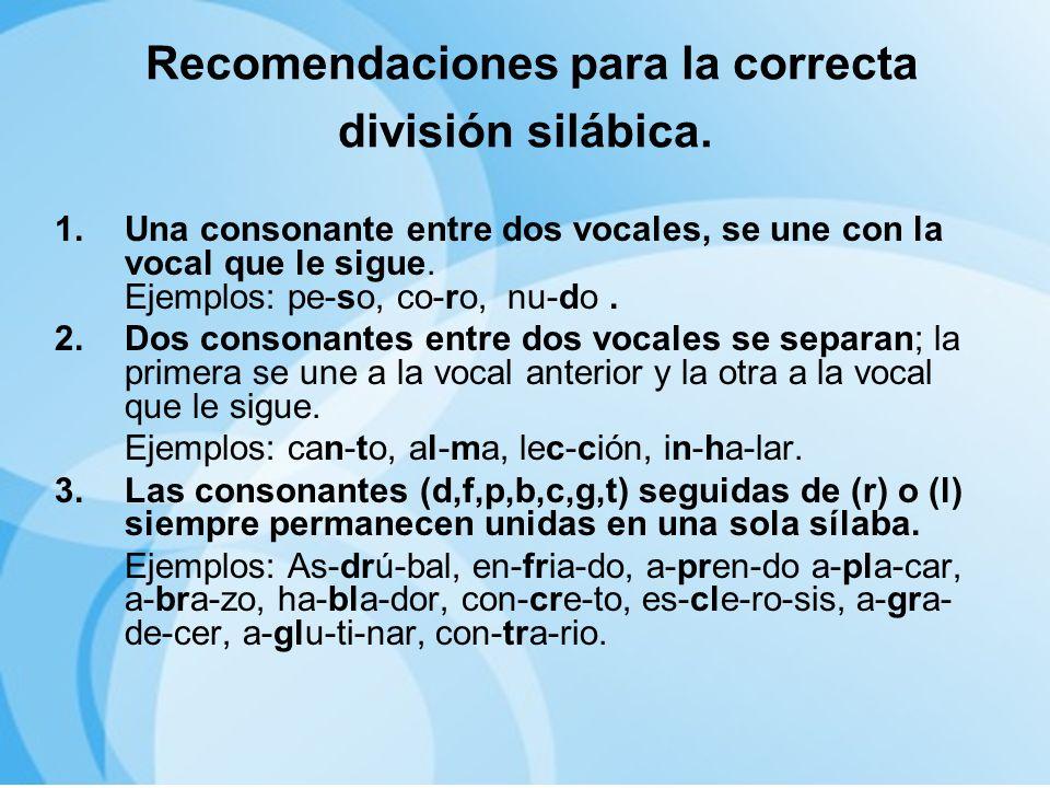 Recomendaciones para la correcta división silábica.