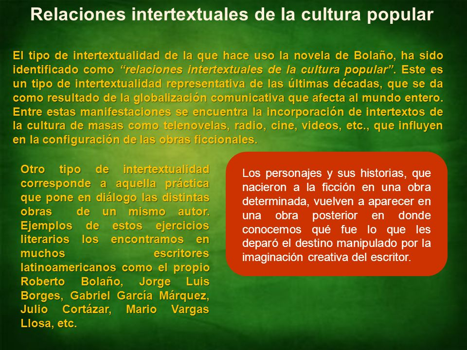 Relaciones intertextuales de la cultura popular