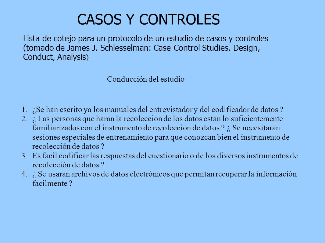 CASOS Y CONTROLES Lista de cotejo para un protocolo de un estudio de casos y controles.