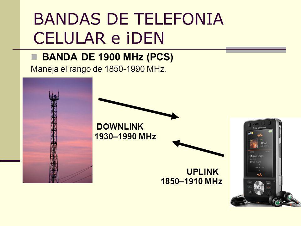 BANDAS DE TELEFONIA CELULAR e iDEN