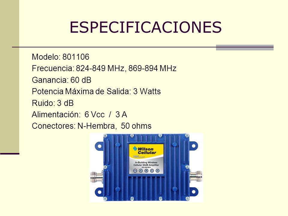 ESPECIFICACIONES Modelo: 801106 Frecuencia: 824-849 MHz, 869-894 MHz