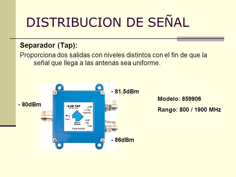 DISTRIBUCION DE SEÑAL Separador (Tap):