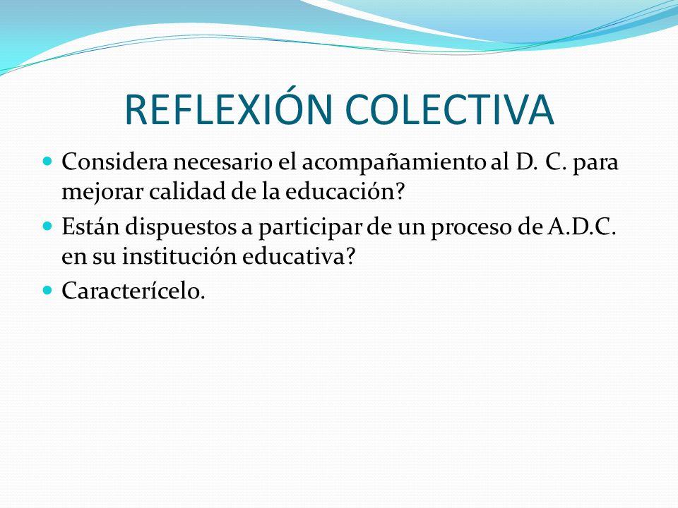 REFLEXIÓN COLECTIVA Considera necesario el acompañamiento al D. C. para mejorar calidad de la educación