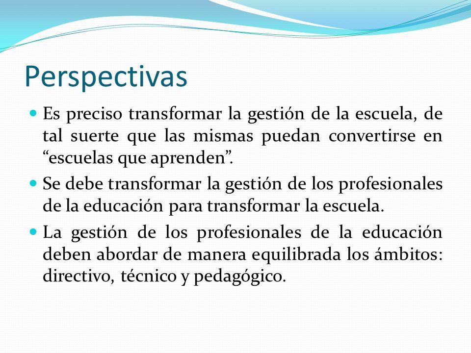 Perspectivas Es preciso transformar la gestión de la escuela, de tal suerte que las mismas puedan convertirse en escuelas que aprenden .