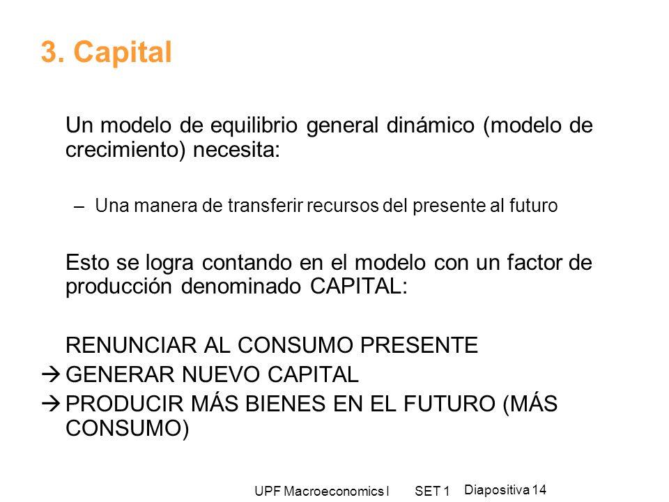 3. CapitalUn modelo de equilibrio general dinámico (modelo de crecimiento) necesita: Una manera de transferir recursos del presente al futuro.